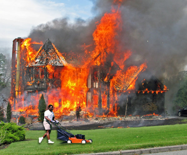 mowing-lawn-house-on-fire